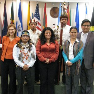 Leaders of Sarayaku with their lawyers and Luz Patricia Mejia of the Inter-American Commission of Human Rights (center)