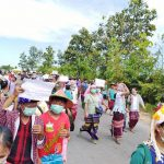 Protesters gather to demonstrate against a coal power plant in Hpa-an township, Kayin State (Photo by Myanmar Times)