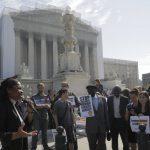 Esther Kiobel outside the US Supreme Court