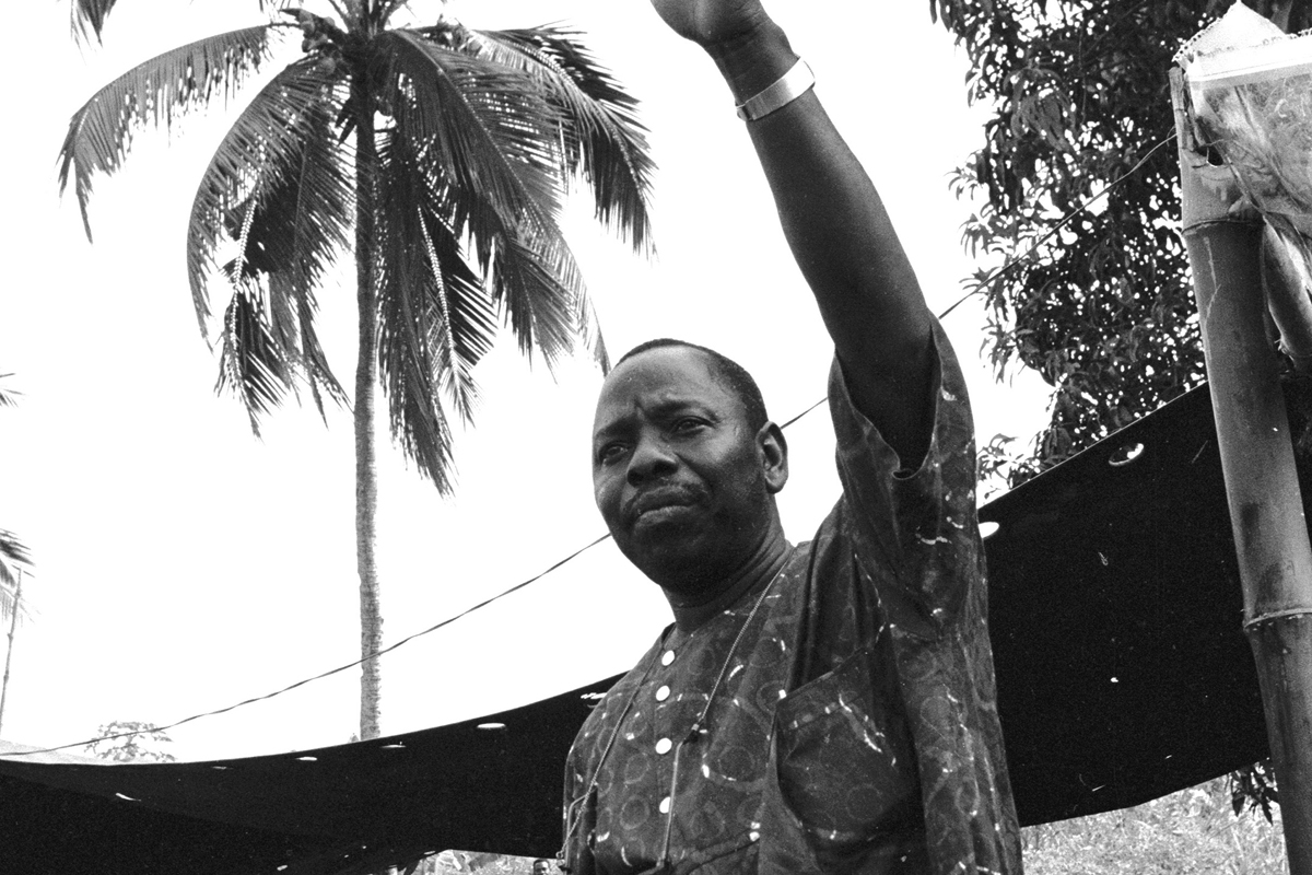 Activist Ken Saro-Wiwa was one of nine Ogoni men killed in 1995 for his peaceful efforts to protect the indigenous Ogoni in Nigeria.